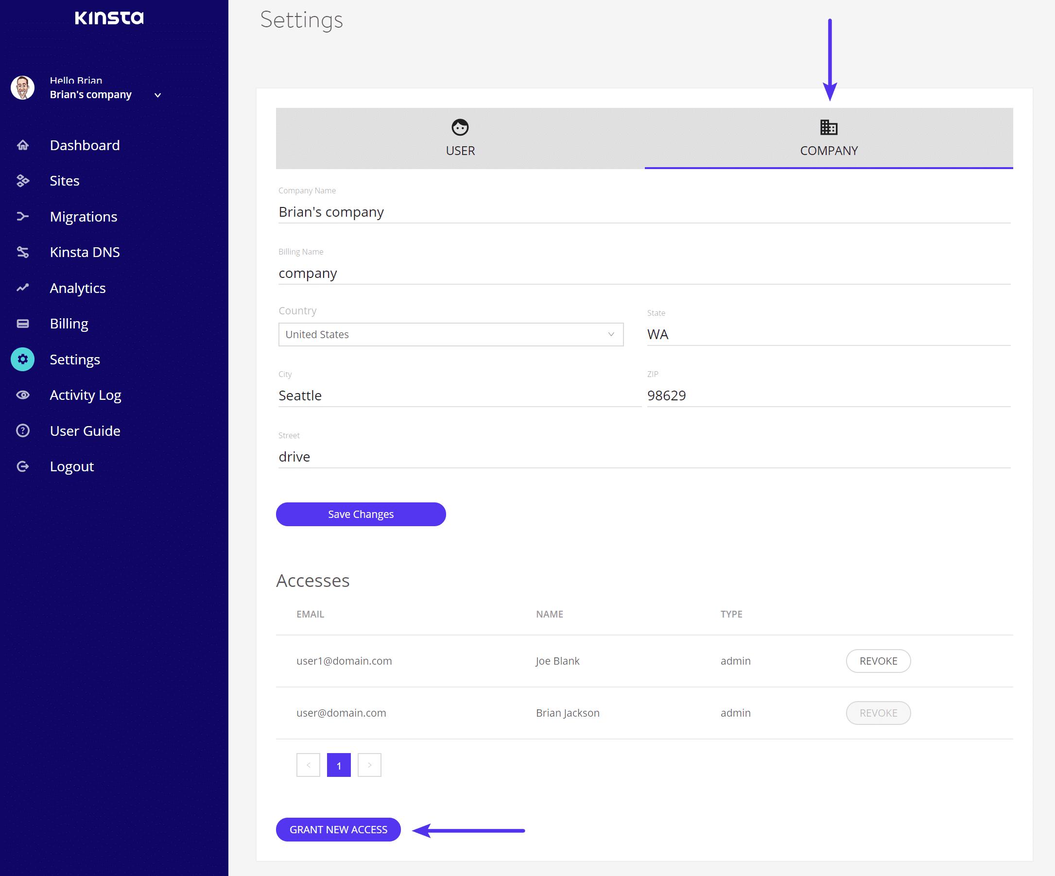 Accorder un nouvel accès MyKinsta