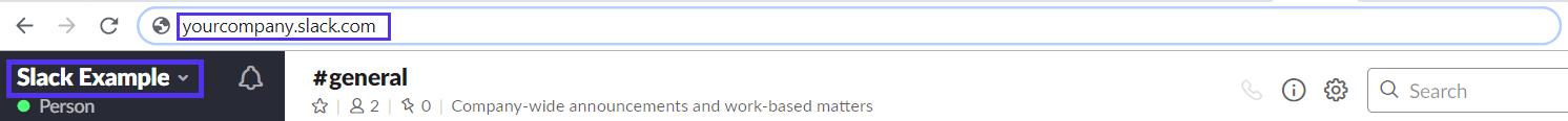 Nom de l'espace de travail Slack