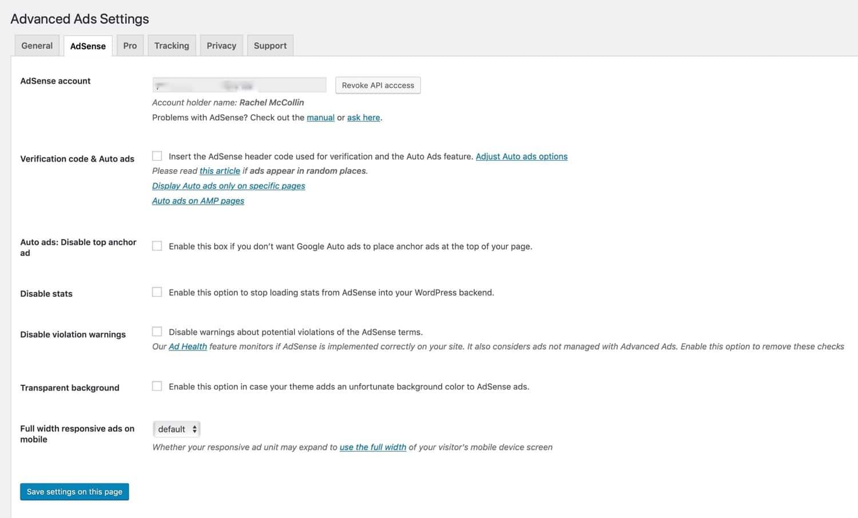 Onglet AdSense avec les détails du compte
