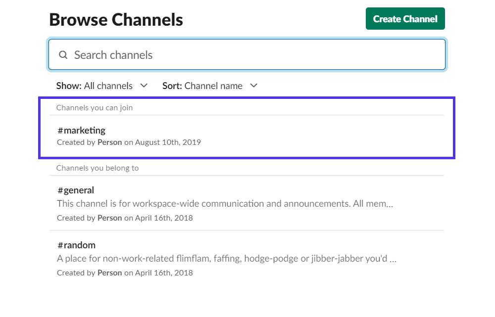 Option «Parcourir les chaînes»