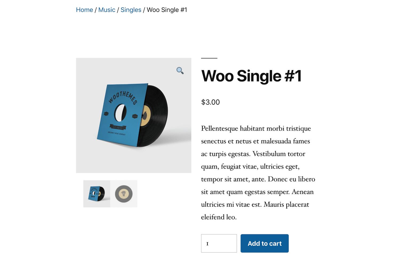 Page produit WooCommerce avec fil d'Ariane activé