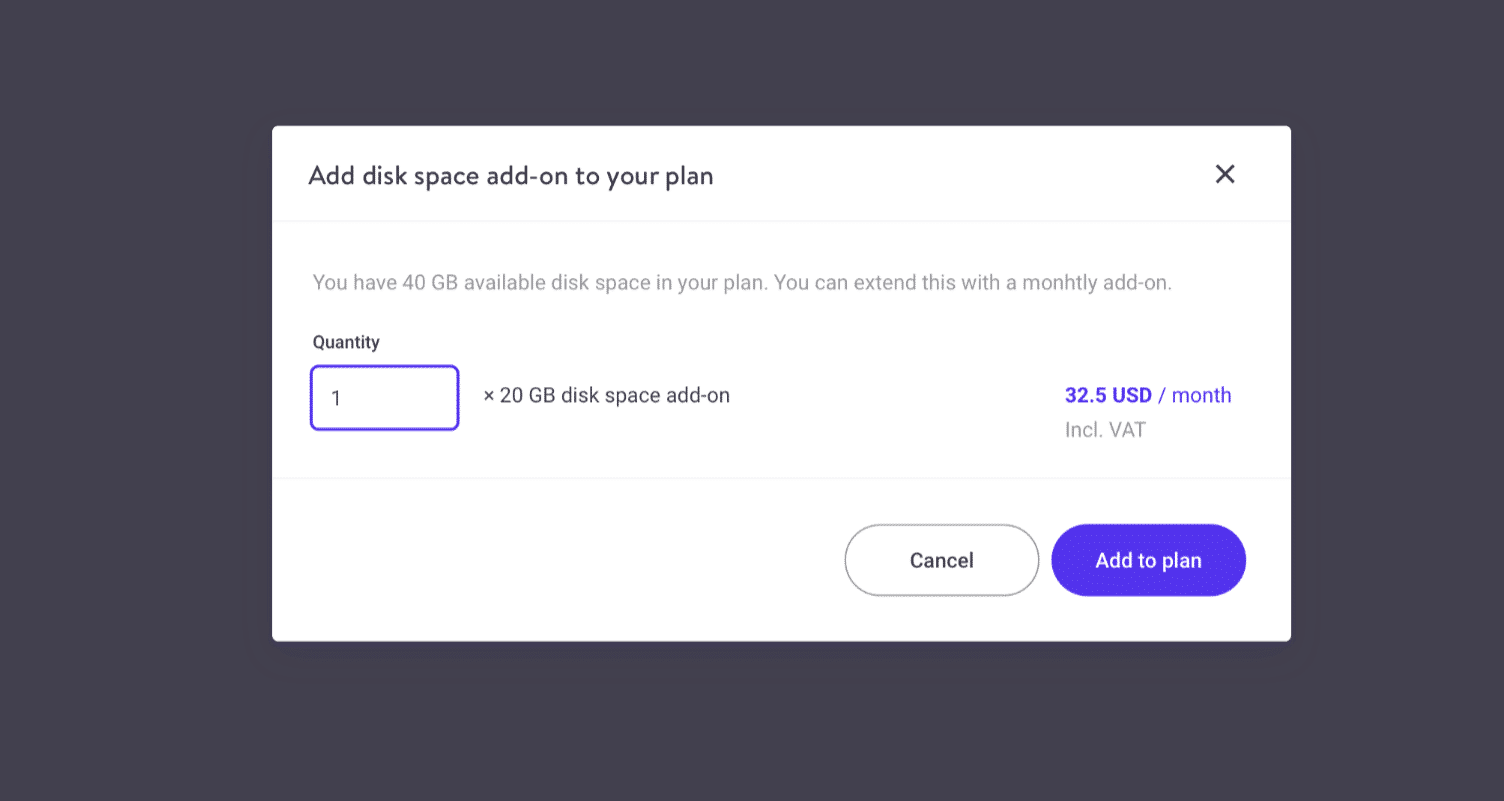 Quantités de l'option additionnelle pour l'espace disque