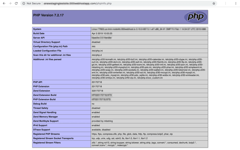 A quoi ressemble la page phpinfo