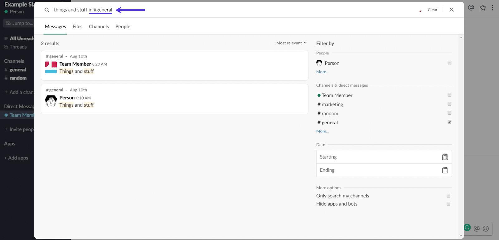 Recherche dans la chaîne Slack