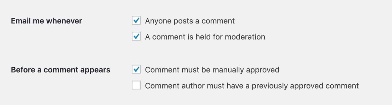 Réglages de discussion WordPress