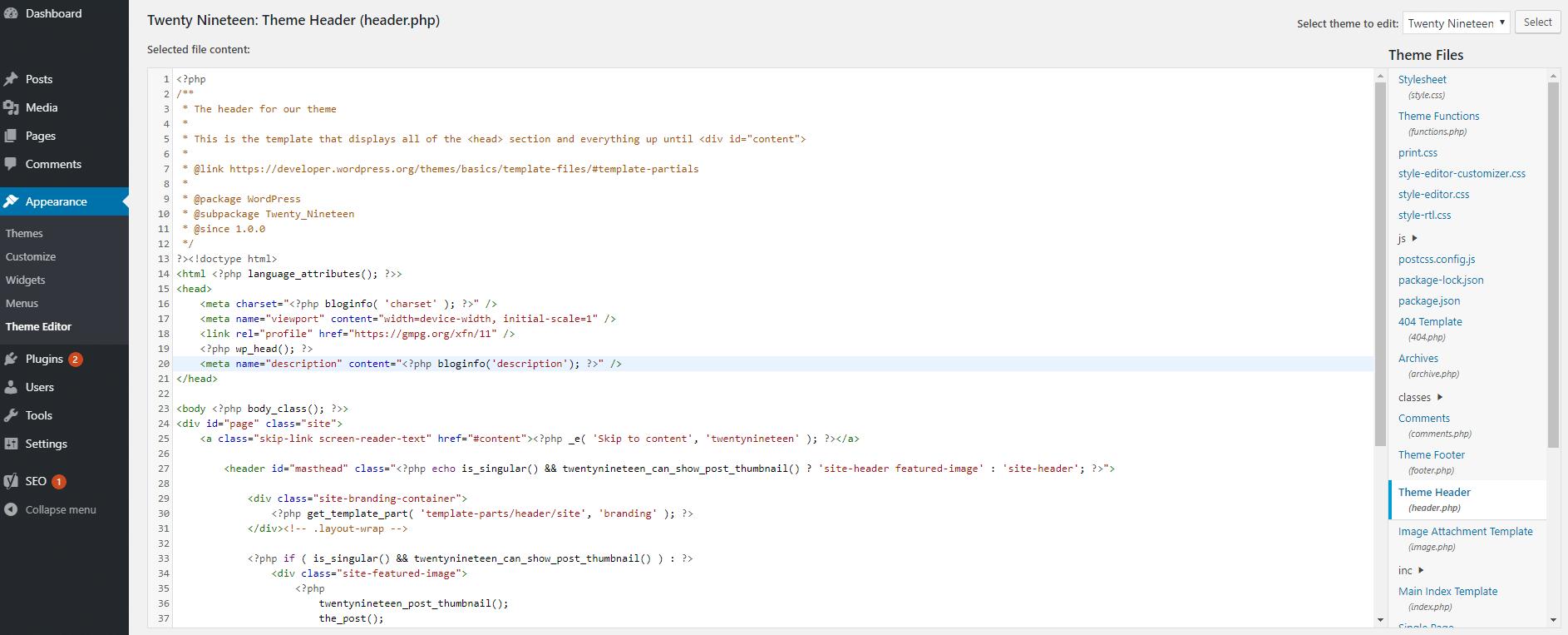 Modification des fichiers de votre thème pour ajouter une méta-description