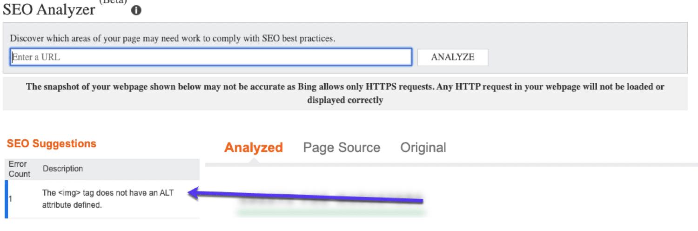 L'analyseur SEO de Bing