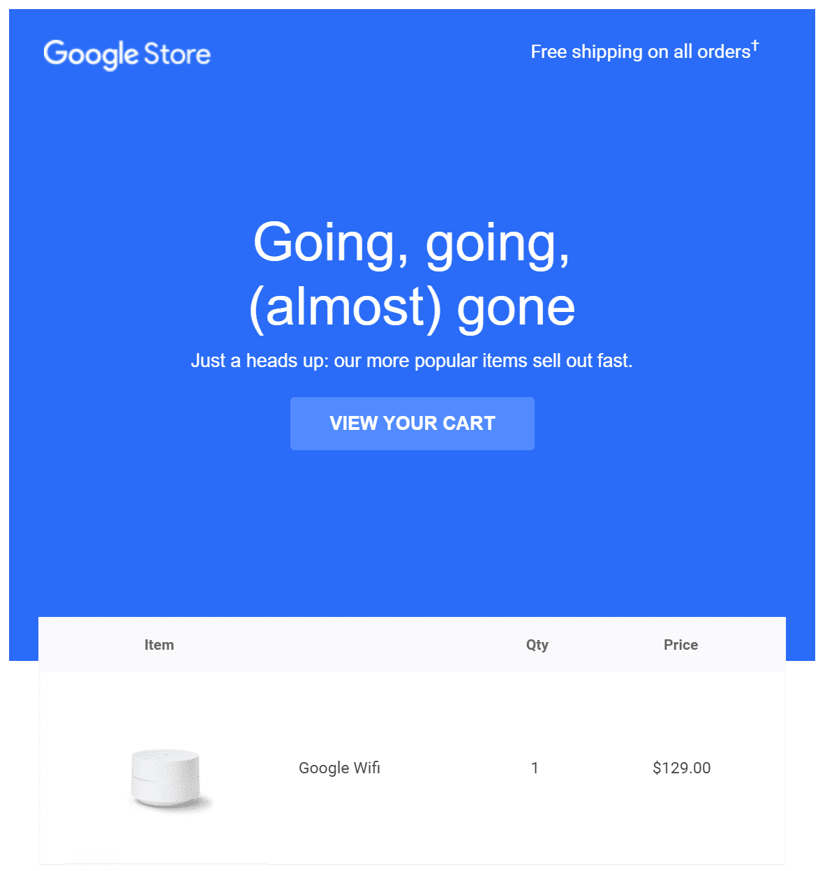 Exemple d'un code de réduction Google Store