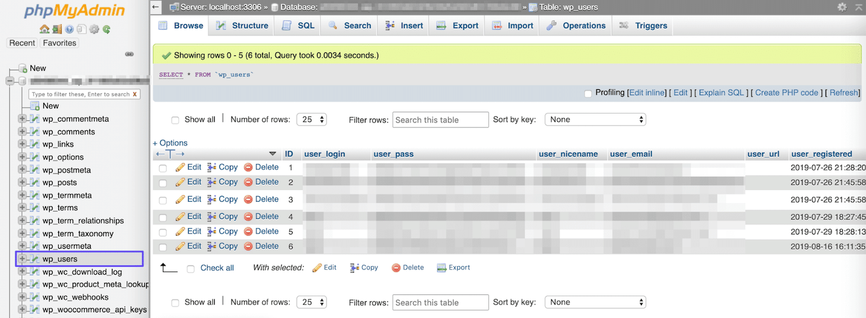La table wp_users dans phpMyAdmin