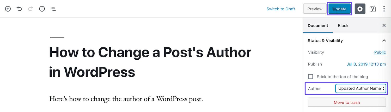 Mettre à jour l'auteur dans l'éditeur de bloc