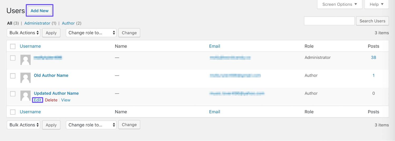 Page des utilisateurs