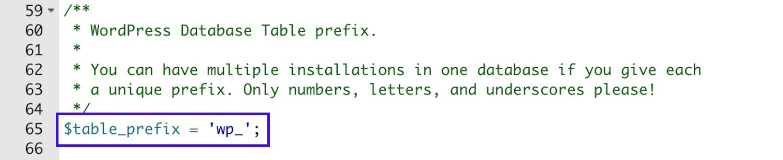 Préfixe de la base de données