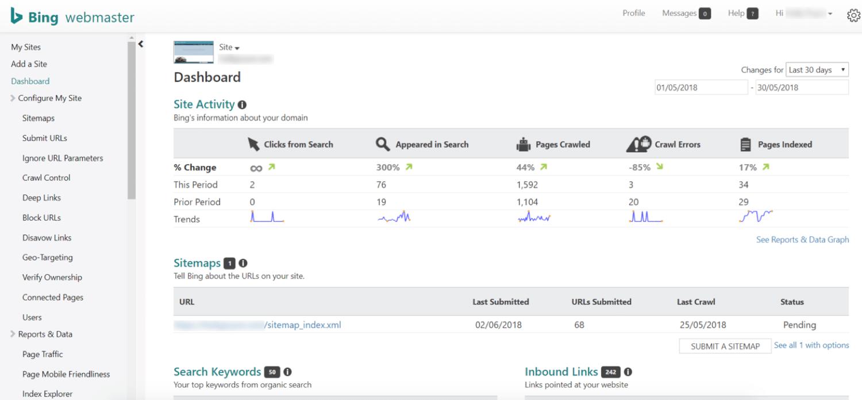 Tableau de bord Bing Webmaster Tools