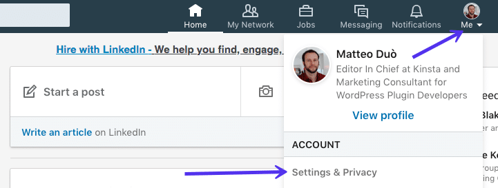Télécharger les données de-mail de LinkedIn