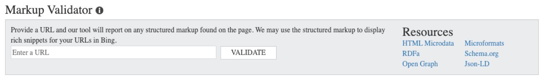 Validateur de balisage de données dans Bing