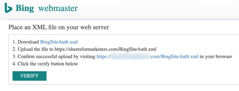 Vérification Bing de fichier XML