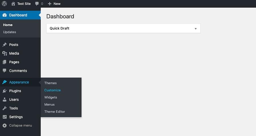 WordPress - naviguez jusqu'au menu Personnaliser