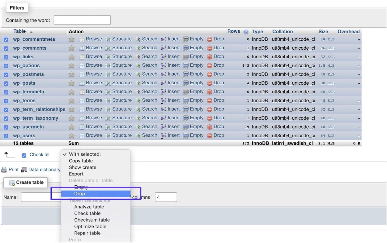 Déposer les tables de la base de données