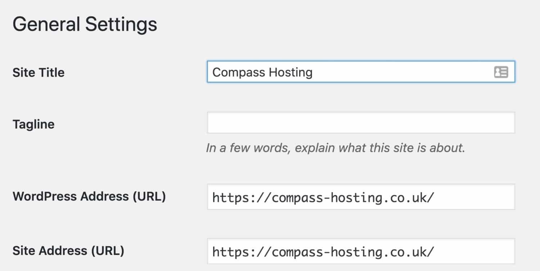 Réglages généraux - URL du site