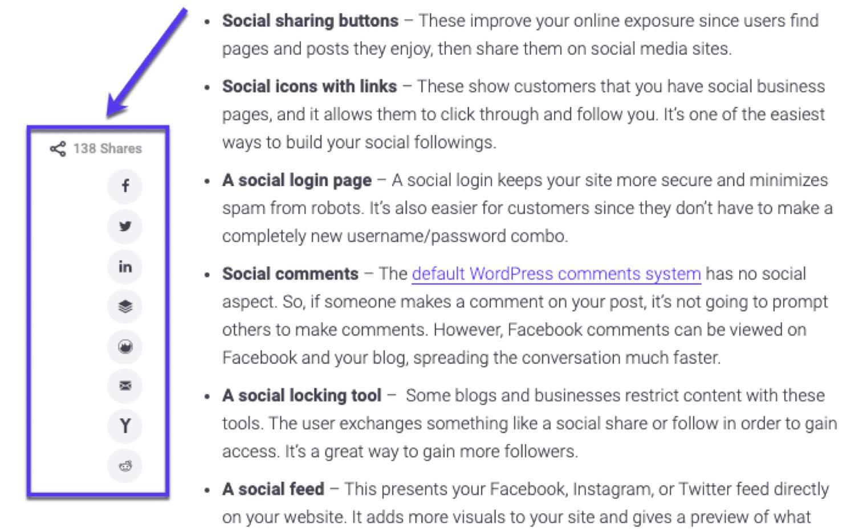Un exemple de boutons de partage social que nous utilisons sur tous les articles de blog chez Kinsta
