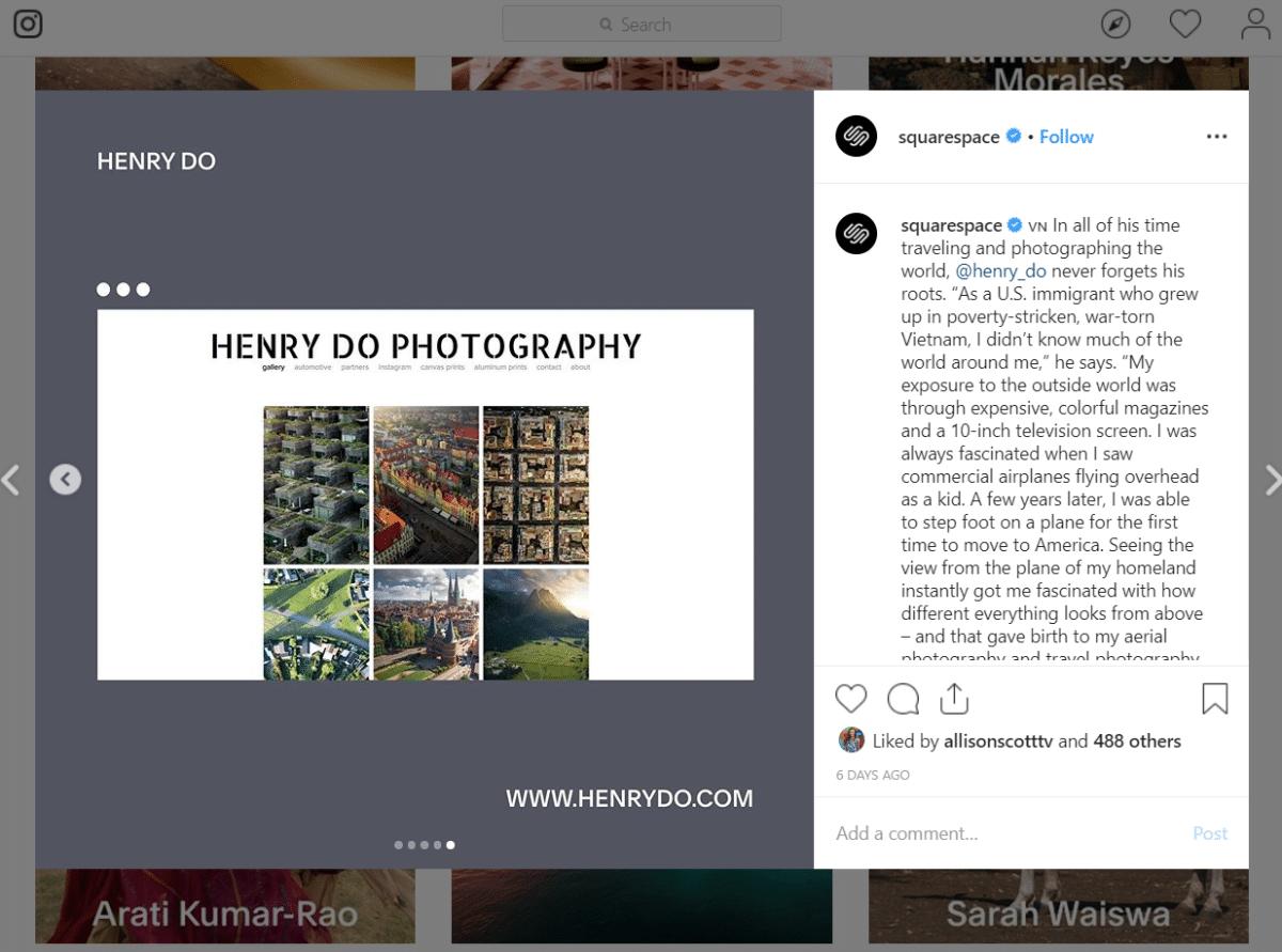 Campagne Instagram de Squarespace