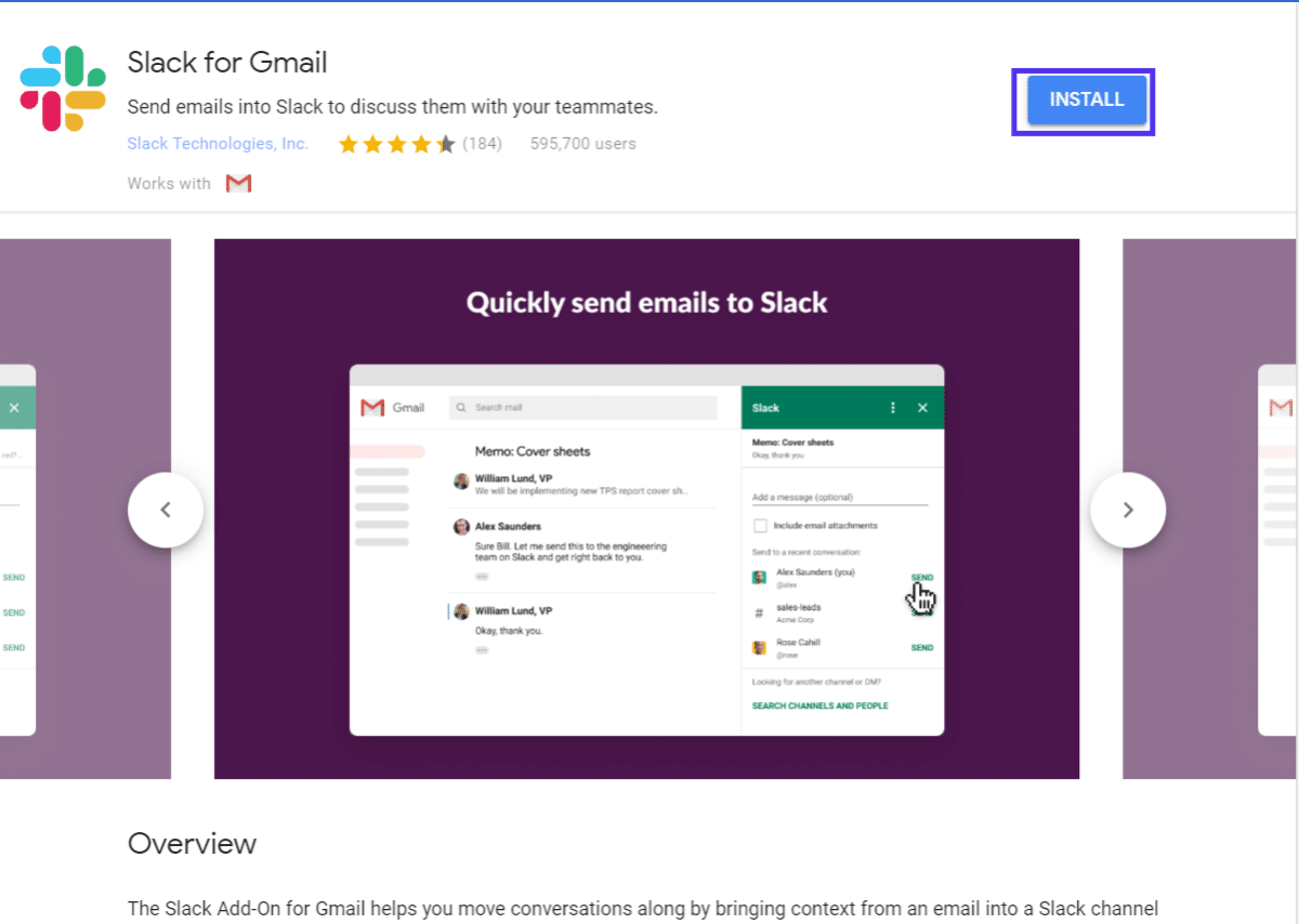 Cliquez sur le bouton d'installation pour ajouter le module Gmail
