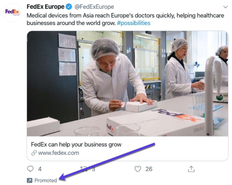 Un exemple de tweet sponsorisé