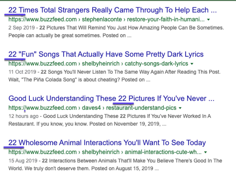 Exemples de classement des articles de liste dans Google