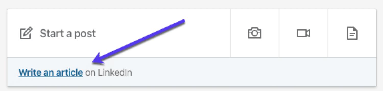 La fonctionnalité «Écrivez un article» dans LinkedIn
