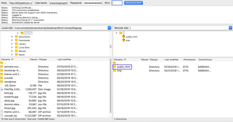 Accès au répertoire public_html via FTP