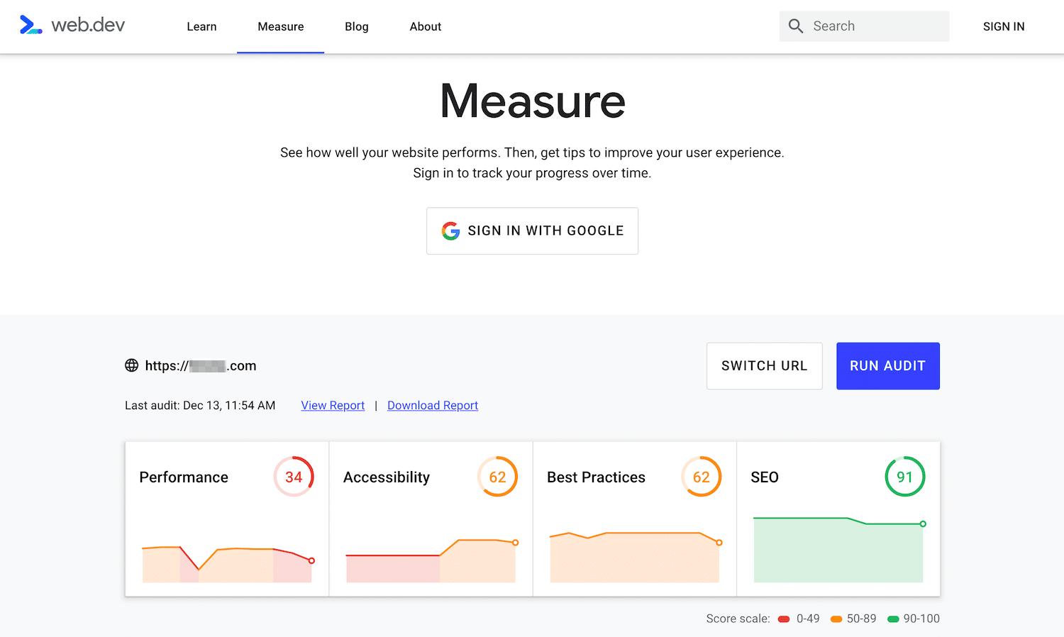 Outil d'audit Google Webmasters Measure