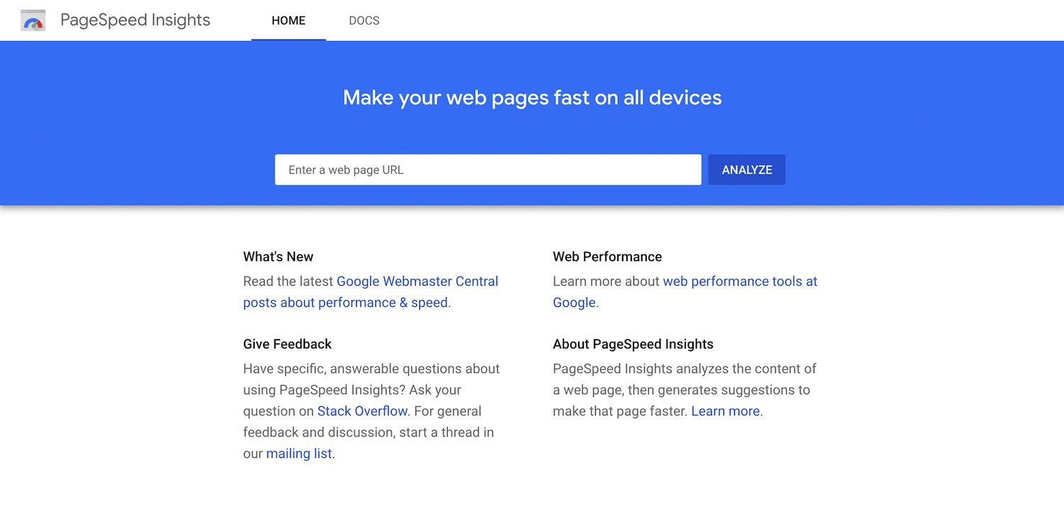 google pagespeed insights
