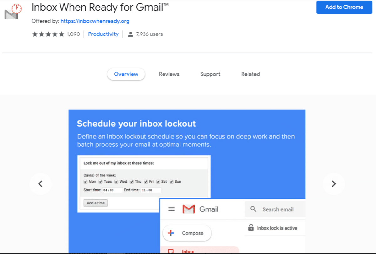 Inbox When Ready pour gmail