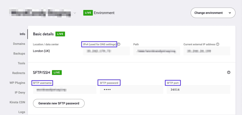 Accès aux identifiants FTP du site dans MyKinsta