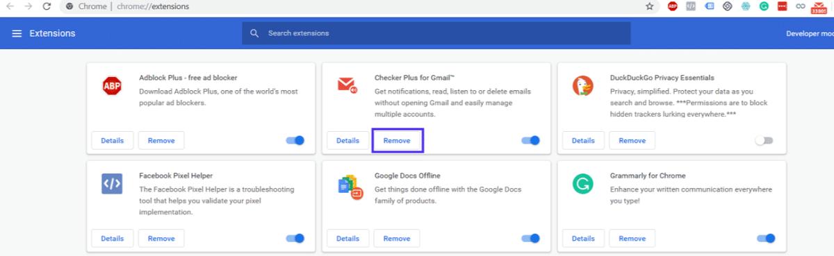 Options d'extension de Google Chrome