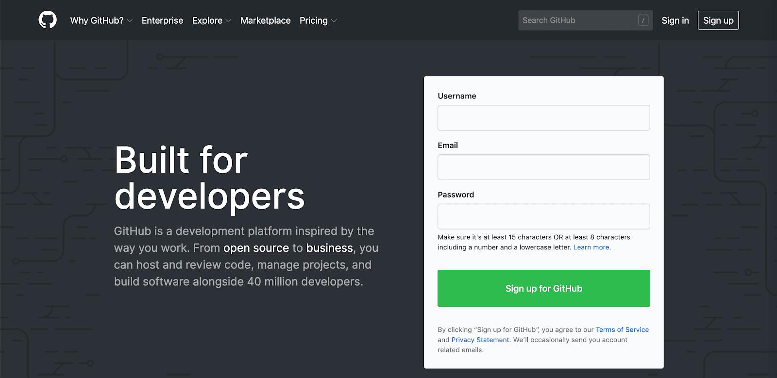 Page d'accueil de GitHub