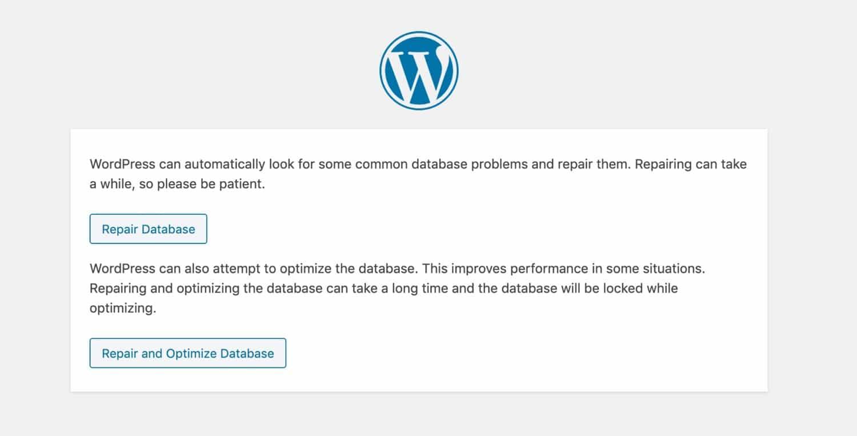 Page de réparation de la base de données