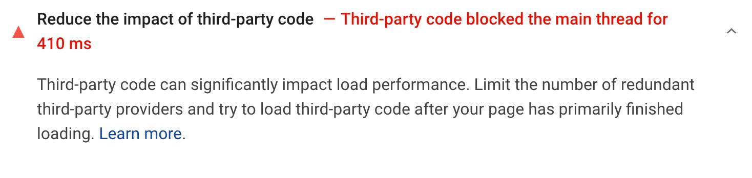 Recommandation de réduire l'impact d'un code tiers