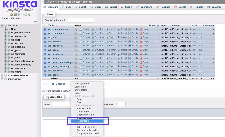 Réparation de la base de données dans phpMyAdmin