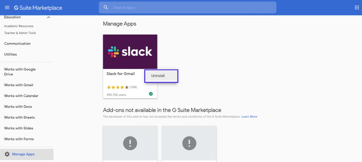 Section «Gérer les applications» G Suite Marketplace