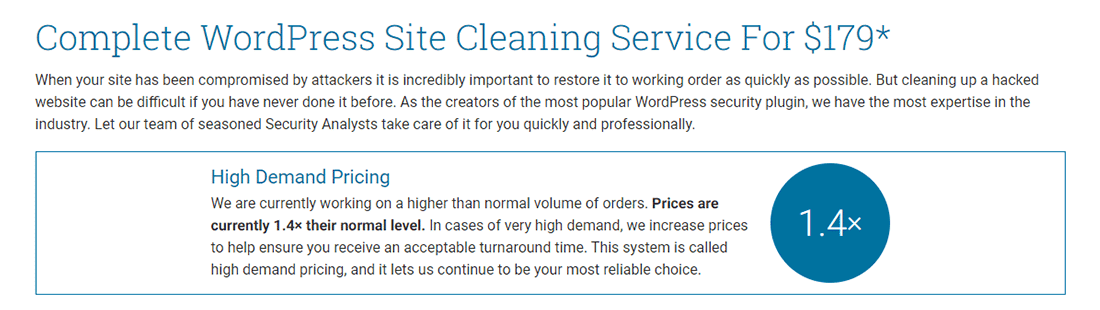 Service Wordfence de nettoyage de site WordPress