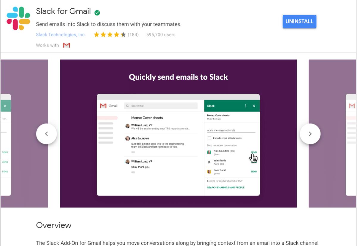 Le module Slack for Gmail