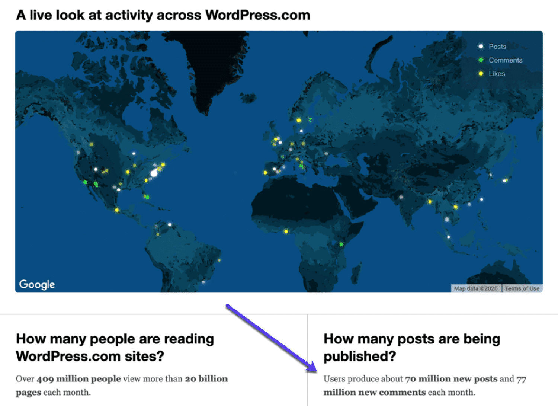 Une carte montrant l'utilisation de WordPress à travers le monde.