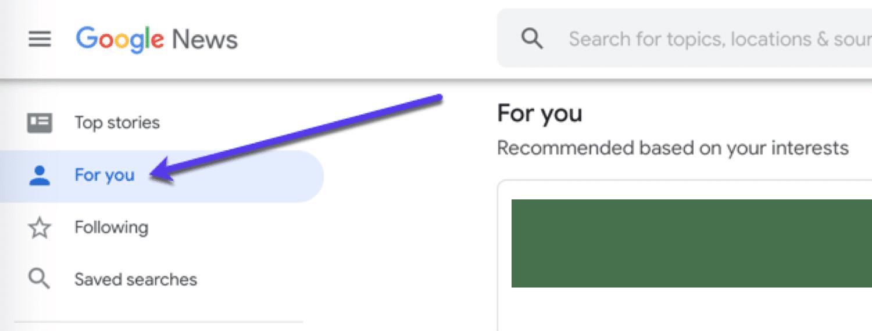 Flux d'informations personnalisé dans Google News.