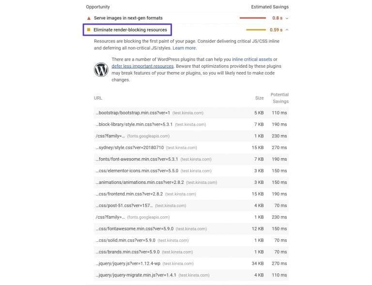 Le message «Éliminer les ressources qui bloquent le rendu» dans PageSpeed Insights