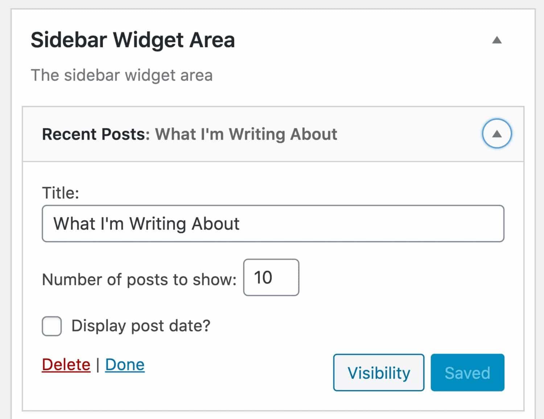 Modifier les options du widget