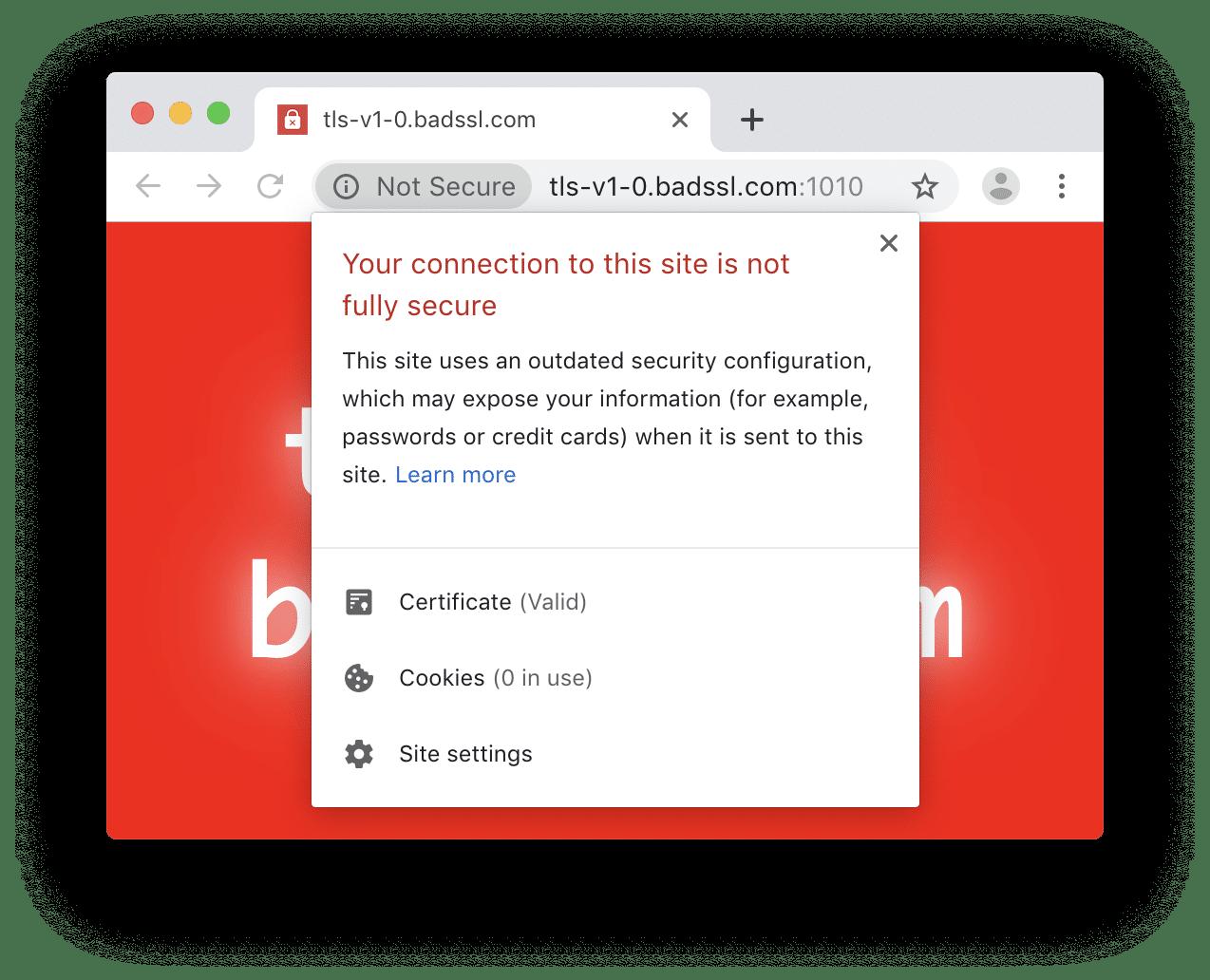 Un nouvel indicateur de sécurité est affiché aux utilisateurs qui visitent un site utilisant TLS 1.0 ou 1.1 (Source de l'image : chromium.org)