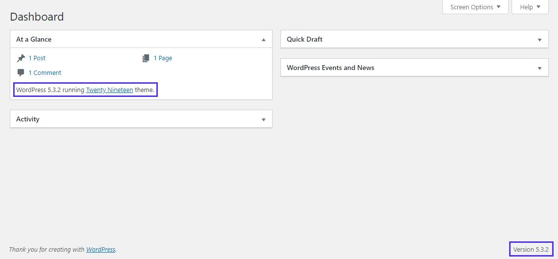 Numéro de version sur le tableau de bord WordPress