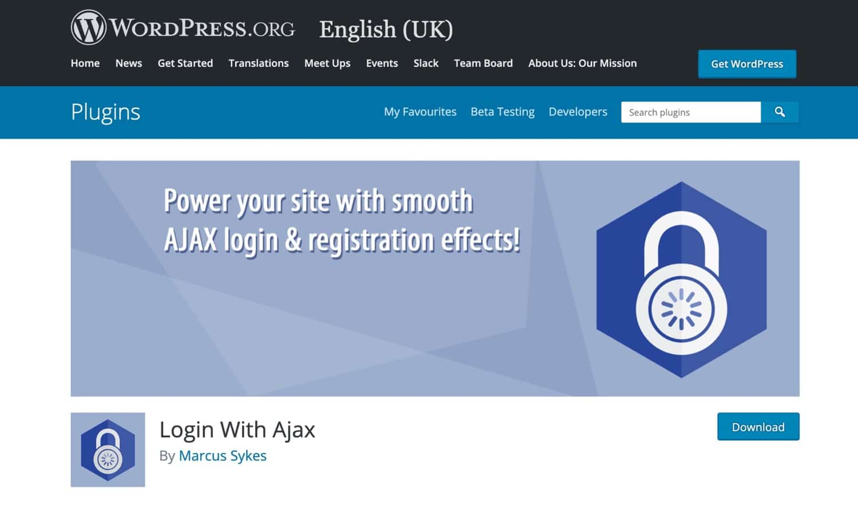 Widget de l'extension Login with Ajax