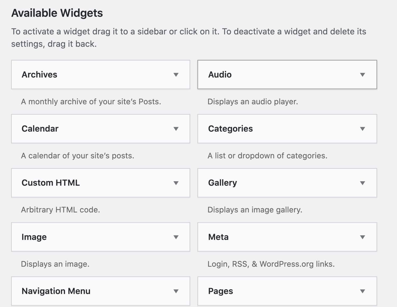 Widgets WordPress préinstallés